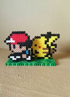 Pokemon Inspired 8 Bit Ash and Pikachu 3D Standee via eb.perler. Click on the image to see more!