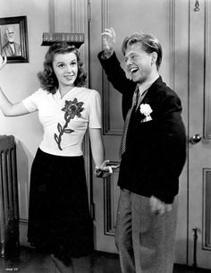 "Judy Garland and Mickey Rooney filming ""Babes on Broadway"" (1941)."