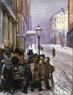 Norwegian Painter Christian Krohg 'The Struggle for Survival' (photo below) depicts the distribution of bread to the poor in Christiania (Oslo), a scene Krohg himself witnessed early one morning. Nordic Art, Scandinavian Art, Skagen, A4 Poster, Poster Prints, Google Art Project, Edvard Munch, Pop Art, Art Moderne