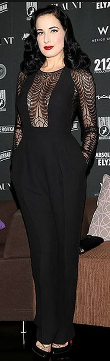 Who made  Dita Von Teese's black lace jumpsuit and black pumps?