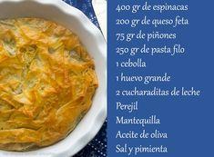 Mi toque en la cocina: Spanakopita (pastel griego de espinacas y queso feta) Jamie Oliver, Pasta Filo, Cantaloupe, Cabbage, Queso Feta, Pastel, Diet, Spanakopita, Fruit