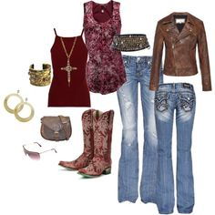 """""""Gypsy Cowgirl"""" by marie-jenson on Polyvore featuring the Lane Wild Ginger cowboy boots"""