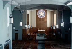 The original rose window and chancel