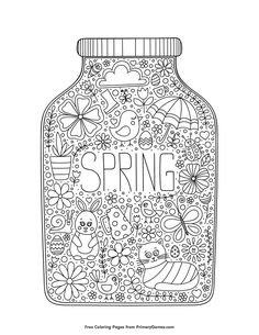 Free printable Spring Coloring Pages eBook for use in your classroom or home from PrimaryGames. Print and color this Spring in a Jar coloring page.