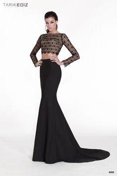 Havin: Traje de noche dos piezas con top de manga larga y falda estilo sirena