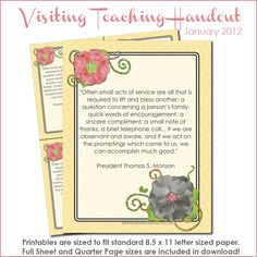 The January 2012 Visiting Teaching Message is about *drumroll* VISITING TEACHING! If you haven't made a resolution for the year, we'...