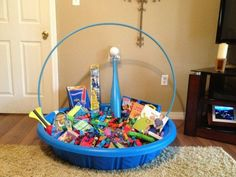 What a great idea for easter giftsd easy too ball jars and easter basket using a baby pool and hula hoop to make one big easter basket instead of individual ones for each kid awesome idea negle Choice Image