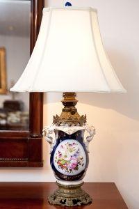 19th century German Porcelain Table Lamp on Brass Base