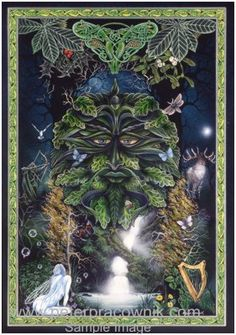 Celtic Art - The Green Man by Artist Peter Pracownik