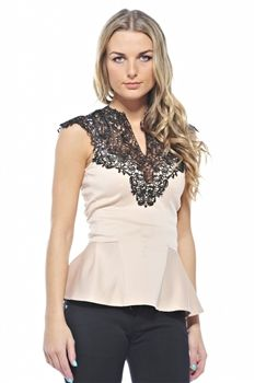 fabulous nude and lace detail peplum top £25