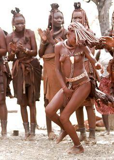 Himba woman dancing