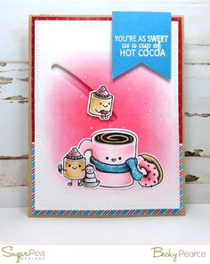 Mugs & Kisses card by Becky Pearce for SugarPea Designs (October Winter Cards, Holiday Cards, Christmas Cards, Food Stamp Card, Coffee Cards, Scrapbook Albums, Scrapbooking, Card Tags, Decor Crafts