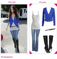 Blue cardigan, knee-high boots, straight jeans, LOVE IT ALL! #fashion