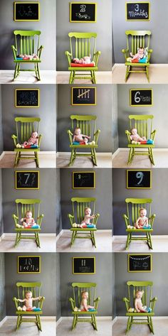 Clever child growth chart in photos Toni Kami ~•❤• Bébé •❤•~ Great child photography idea