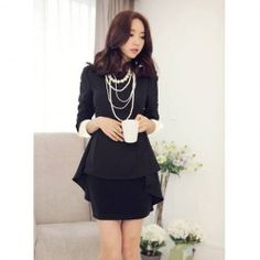 Long Sleeves Scoop Neck Chiffon Skinny Simple Style Dress For Women