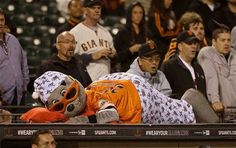 Lou Seal tired during 16inning game. July 8, 2013