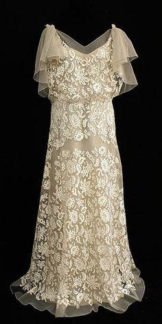 Silk lace/chiffon wedding dress, 1930s