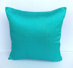 Aqua blue. Dupioni silk pillow cover- 20 inch throw pillow- New arrival- custom made