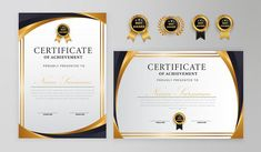 Black and gold certificate with badge an... | Premium Vector #Freepik #vector #frame #certificate #templates #graduation Award Template, Certificate Design Template, Badge Template, Frame Template, Certificate Of Appreciation, Certificate Of Achievement, Border Templates, Page Decoration, Or Rouge