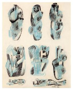 Henry Moore (English 1898 - ,Nine ideas for sculpture, 1937 Plaster Sculpture, Plaster Art, Abstract Sculpture, Sculpture Art, Metal Sculptures, Bronze Sculpture, Henry Moore Drawings, My Drawings, Graphic Design Illustration