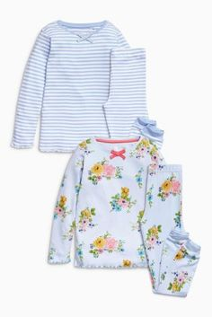 Buy Blue Floral And Stripe Pyjamas Two Pack (3-16yrs) from the Next UK online shop
