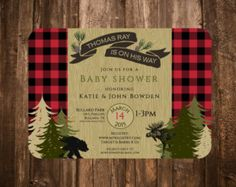 Lumberjack Woodland Invitation Birthday Baby by papernpeonies Moose Baby Shower, Baby Shower Fall, Surprise Birthday Invitations, Baby Shower Invitations, Invites, Baby Shower Gender Reveal, Baby Shower Themes, Shower Ideas, Birthday Greetings For Brother