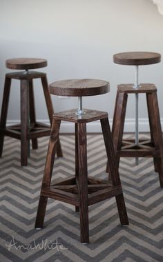 Build an Industrial-Style, Adjustable-Height Bolt Bar Stool // FREE and Easy DIY Furniture Project Plans at Ana-White.com