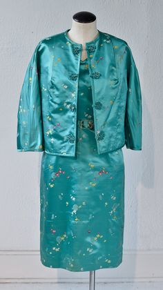 1960er Jahren asiatische print Seidenkleid Jacke von stylegirl