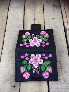 Handcrafted Black Leather Wallet with Hot Pink beaded Flowers and buds 6 cards pockets measures closed Velcro closure Native Beading Patterns, Beadwork Designs, Bead Embroidery Patterns, Native Beadwork, Native American Beadwork, Beaded Jewelry Patterns, Beaded Embroidery, Native American Moccasins, Indian Beadwork