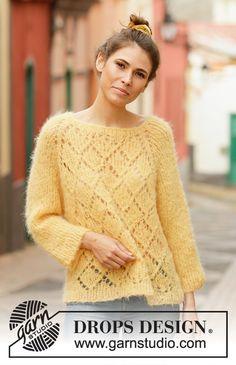 Women - Free knitting patterns and crochet patterns by DROPS Design Ladies Cardigan Knitting Patterns, Jumper Knitting Pattern, Lace Knitting, Knitting Patterns Free, Knit Patterns, Knit Crochet, Drops Design, Magazine Drops, Pulls