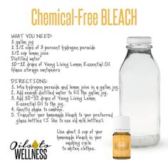 Chemical-Free Bleach using Young Living essential oils! Are you ready to live an all-natural, chemical-free life?  Then you're ready for Young Living! http://www.yldist.com/sherryaphillips