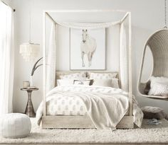 The Wicker Hanging Chair ($679) can punch up a neutral room. Image Source: Restoration Hardware