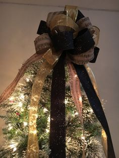 Beautiful Christmas Tree Topper Bow Made W/black Glitter, Sheer Gold And  Burlap Sheet