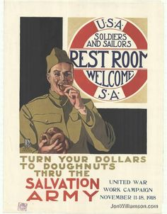 Salvation Army Vintage Poster-Donating goes straight to those who need it.No salaries to middlepersons Vintage Ads, Vintage Posters, Ww1 Posters, Old Fashioned Donut, Patriotic Posters, Army History, Children's Films, Church Graphic Design, Life Cover