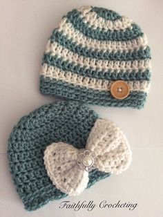 Newborn twin hats.. Boy/girl twin hats.. by FaithfullyCrocheting