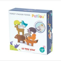 Forest stacker tower that comes with matching calico bag. A beautiful collection of adorable and sweet animals. Comes with nine woodland animals; Tortoise, bird, mouse, deer, bear, hedgehog, rabbit, squirrel and sweet fox. How high can they be staked before it tumbles?      #toys #gifts #toddler #design #decor #kidsroom #play #learn #teach #create #motherhood #parenting #style #littlebooteekau