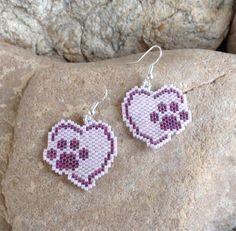 Pink and Purple Puppy Love Heart Peyote Beaded Earrings
