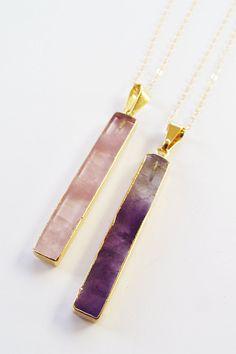 SALE Rose quartz Bar Necklace Amethyst Gold Filled
