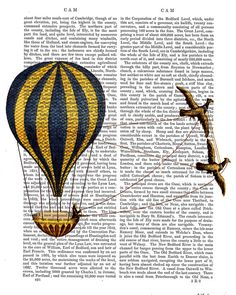 Vintage Birds and Hot Air balloon