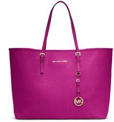 MICHAEL Michael Kors Jet Set Saffiano Travel Tote Bag, Fuchsia on shopstyle.com