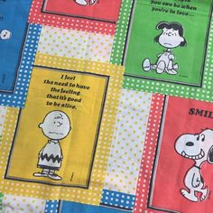 Vintage Snoopy Peanuts & Gang Pillowcase Color Block Muslin Fabric Quotes 1970  | eBay