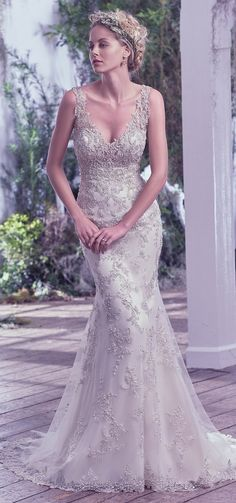 """Love beaded gowns? Say hello to @maggiesottero """"Greer"""", an elegant sheath wedding dress embellished with exquisite Swarovski crystals. STUNNING!  #bridal #wedding #weddingdress #weddinggown #bridalgown #dreamgown #dreamdress #engaged #inspiration #bridalinspiration #bride #weddinginspiration #weddingdresses #romantic  #maggiesottero #maggiebride"""