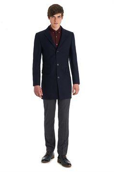 Moss London Slim Fit Blue Herringbone Overcoat