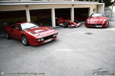 288 GTO, 599 GTO, F40, F50 and the 2006 Formula 1 car. Which to take to the office today?