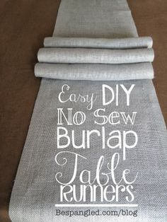Easy No-Sew Burlap Table Runners {Video Tutorial}. Also works with other fabrics - great DIY wedding or home decor project!