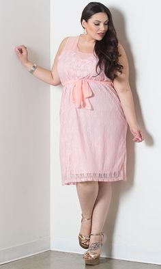 """Plus Size Lace Dress """"Loretta"""" From SWAK Designs - PLUS Model Mag.  Available in colors Rose, Charcoal and Ivory and in sizes 1X-6X.  Fabric:  61% Nylon/35% Polyester/4% Spandex."""