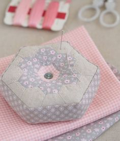 "A pincushion made with 1/2"" hexagons - Pretty by Hand"