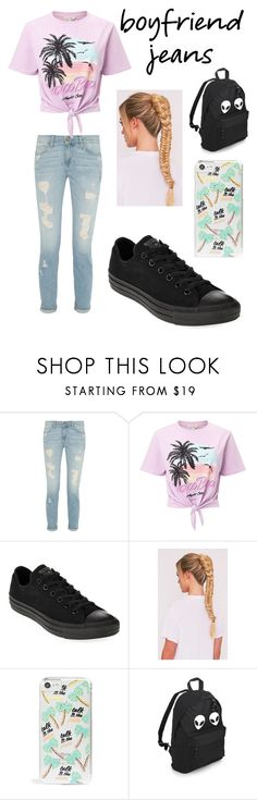 """Boyfriend Jeans"" by musiclover143 ❤ liked on Polyvore featuring Miss Selfridge, Converse and Skinnydip"