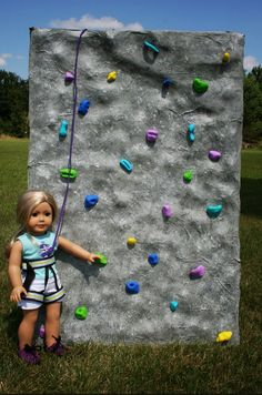 Rock Climbing Wall | 39 American Girl Doll DIYs That Won't Break The Bank  SO cute.  Need to do this