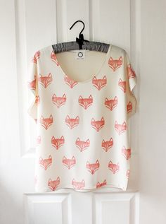 Fox Face Batwing Top bone jersey by RoEnArt on Etsy, $30.00